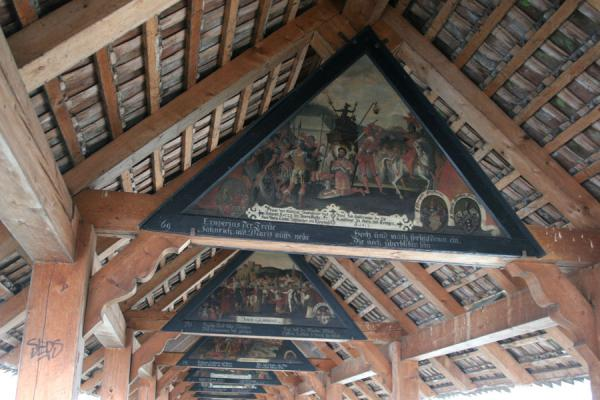 One of the many paintings on panels in the Chapel Bridge | Lucerne Bridges | Switzerland