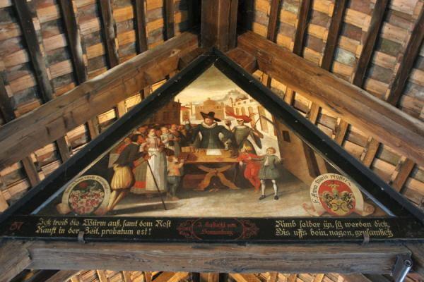 Painted panel in the Speuerbrücke with Death and scythe | Lucerne Bridges | Switzerland