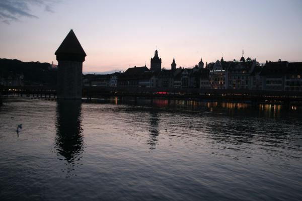 Picture of Contours of watertower, Chapel bridge and spires of the old town