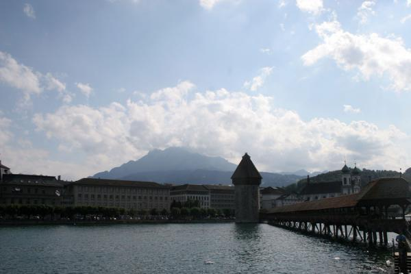 Chapel bridge, watertower and Pilatus mountain in the background | Lucerne Bridges | Switzerland
