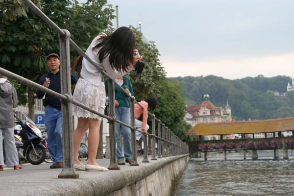 Taking a picture of the Chapel bridge | Lucerne Bridges | Switzerland