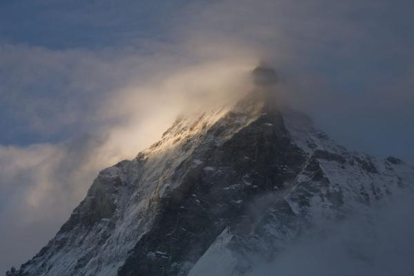 First rays of sunlight on the summit of Matterhorn | Matterhorn Hiking | Switzerland