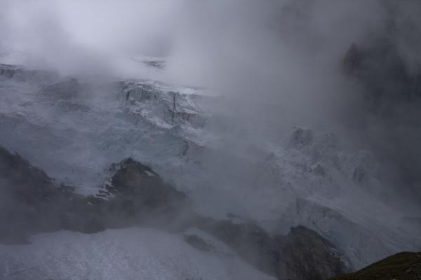 Clouds covering the Zmutt glacier | Matterhorn Hiking | Switzerland