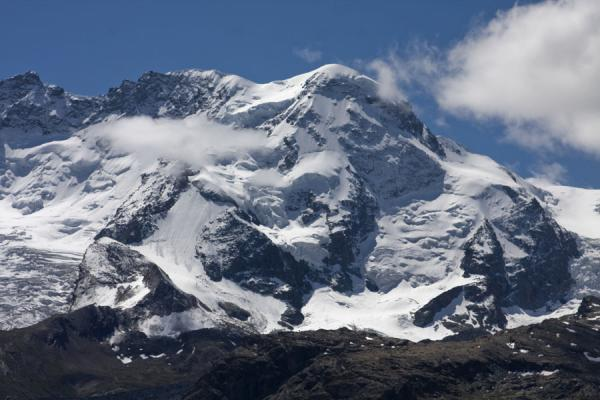 Picture of Monte Rosa mountain range covered in snow and ice close to the Matterhorn