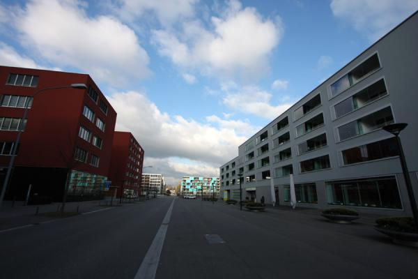 Picture of Modern houses on the street cutting through Oerliker Park