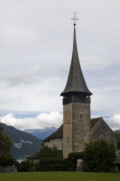 The pointed bell-tower of Spiez church | Spiez church | Switzerland