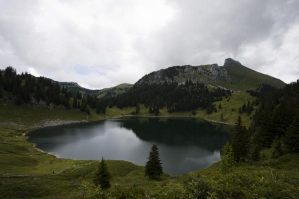 Photo de la Suisse (Stockhorn landscape with Oberstockensee and trees)