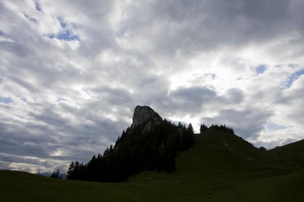 Foto di Mountain peak with trees, covered by clouds, in the Stockhorn range - Svizzera - Europa
