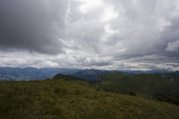 Halfway up the Stockhorn: grass, mountain view, and clouds | Stockhorn | Switzerland