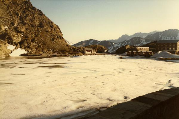 Frozen lake of Great Saint Bernhard | Swiss Alps Mountain cycling | Switzerland