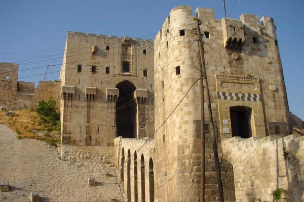 Picture of Aleppo Citadel (Syria): Defensive tower and bridge, Aleppo Cathedral