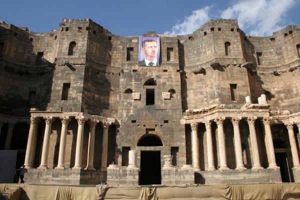 Picture of Bosra Amphitheatre (Syria): Stage and columns of Bosra amphitheatre