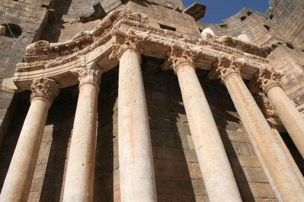 Picture of Bosra Amphitheatre (Syria): Looking up from the stage of the Bosra amphitheatre