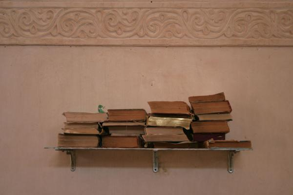 Picture of Omar Mosque (Syria): Omar mosque: some of the religious books stacked on the wall
