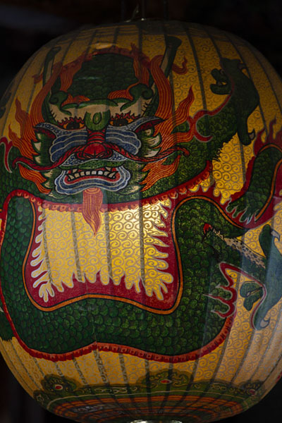 Lampion decorated with dragon hanging from the ceiling at the entrance of Baoan temple | Dalongdong Baoan temple | Taiwan
