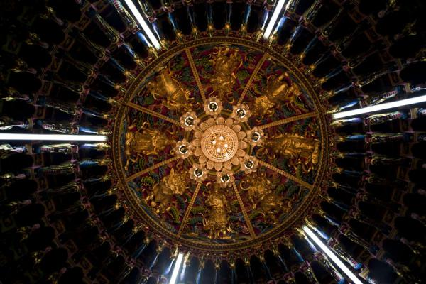 Picture of Guandu temple (Taiwan): One of the many heavily decorated ceilings of Guandu temple
