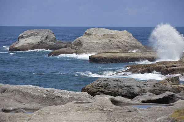 Picture of East Coast Scenic Area (Taiwan): The coastline south of Shihtiping with waves crashing on the rock formations