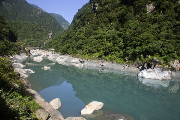 Picture of Taroko Gorge (Taiwan): Quiet section of the river lined with trees