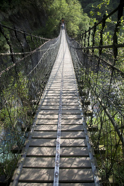 Foto van A swinging suspension bridge near Heliu campgroundTaroko Gorge - Taiwan