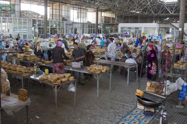 Picture of Istaravshan Bazaar (Tajikistan): Selling bread at the market of Istaravshan