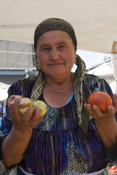 Selling vegetables and fruit at Istaravshan Bazaar | Istaravshan Bazaar | Tajikistan