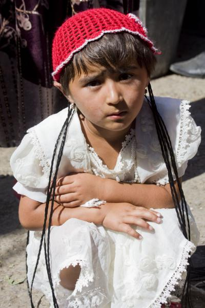 Small girl at the market of Istaravshan | Istaravshan Bazaar | Tajikistan