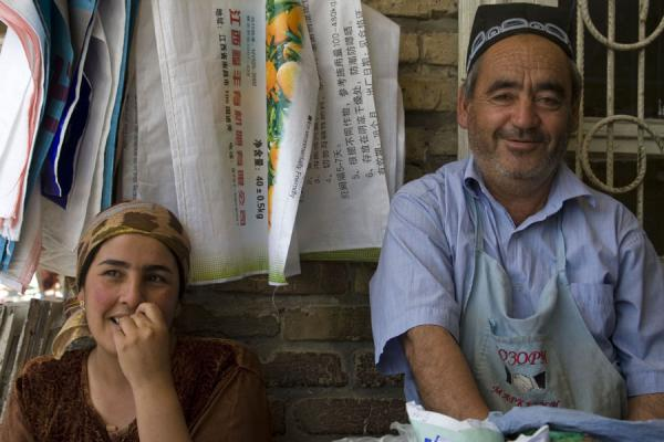 Hawkers posing for the camera | Istaravshan Bazaar | Tajikistan