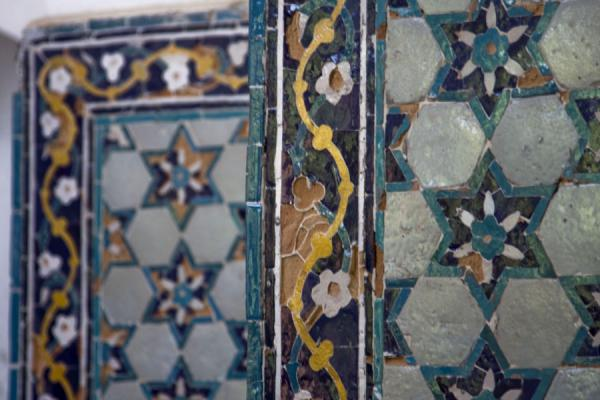 Picture of Istaravshan Old Town (Tajikistan): Close-up of the tiled artwork in the Blue Dome or Kök Gumbaz