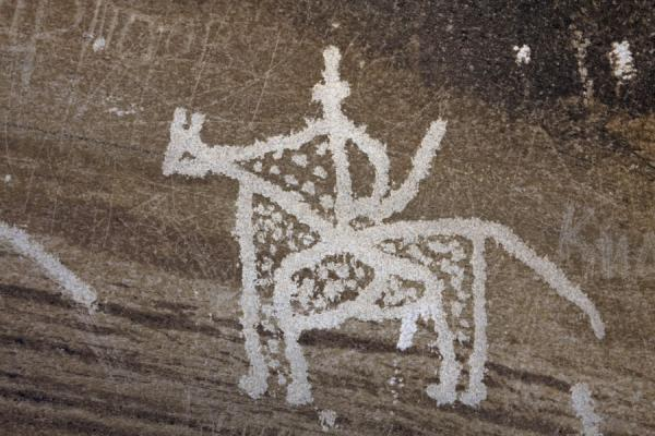 Horseman depicted in one of the petroglyphs | Langar petroglyphs | Tajikistan