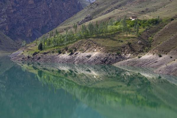 Picture of Marguzor lakes (Tajikistan): Turquoise Nofin lake reflecting trees