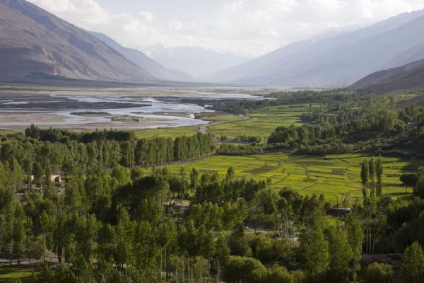 Green Wakhan valley seen from the Buddhist stupa of Vrang | Vrang Buddhist stupa | Tajikistan