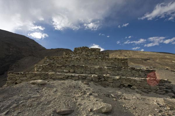 Foto van The Buddhist stupa built from stones above VrangVrang - Tadzjikistan