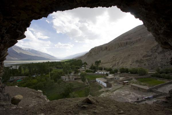 View from inside a hermit cave above Vrang | Vrang Buddhist stupa | Tajikistan