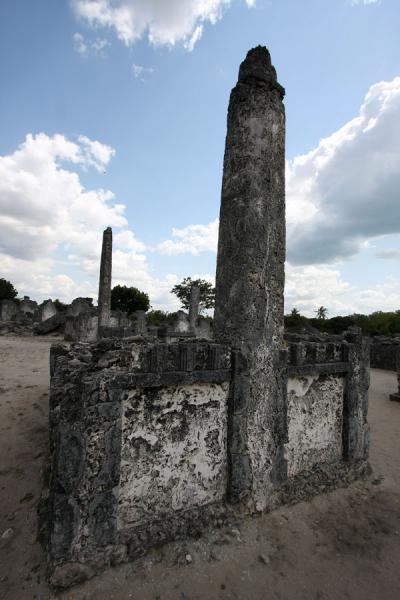 Picture of Old cemetery of Kaole with graves, some with pillars