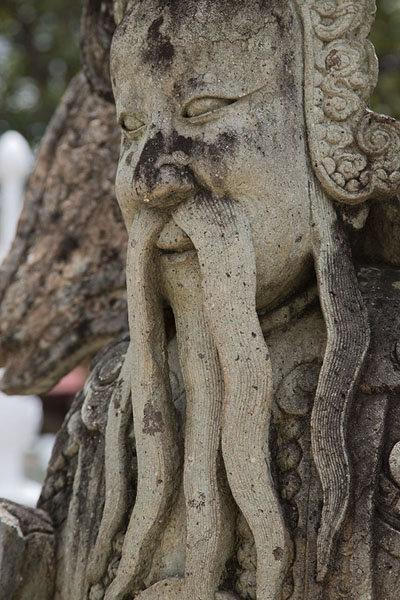 Picture of Ko Kret (Thailand): Detail of statue of bearded man at Wat Chim Plee Sutthawat
