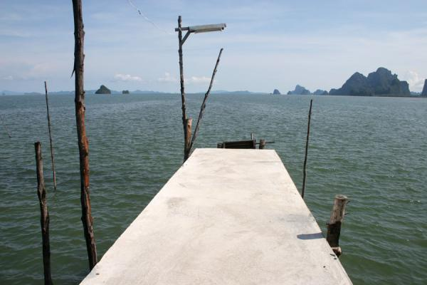 Picture of Ko Panyi: end of street of this fishing village with islands of Phang Nga Bay