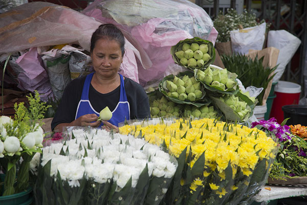 Picture of Woman at the flower section of the market - Thailand - Asia