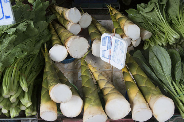 Picture of Stack of bamboo shoots for sale - Thailand - Asia