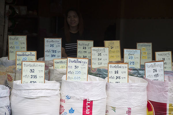 Young woman selling rice | Nonthaburi market | Thailande