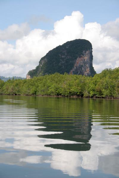 Picture of Phang Nga Bay (Thailand): Hill reflected in the backwaters of Phang Nga National Bay