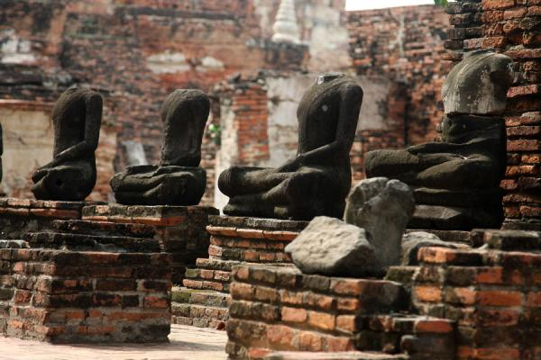 Picture of Several Buddha statues without headsAyutthaya - Thailand