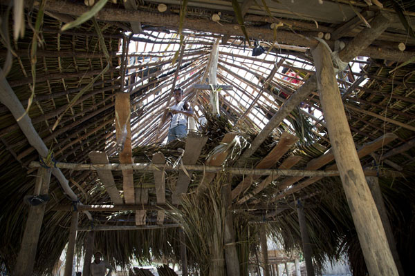 Men up on the roof thatching a house | Suai Loro | Timor-Leste