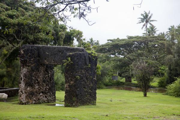 Picture of The trilithon with the backrest visible under the large tree in the distanceNiutoua - Tonga