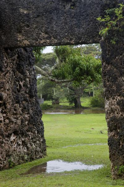 Picture of The trilithon framing the tree and backrest of the kingNiutoua - Tonga