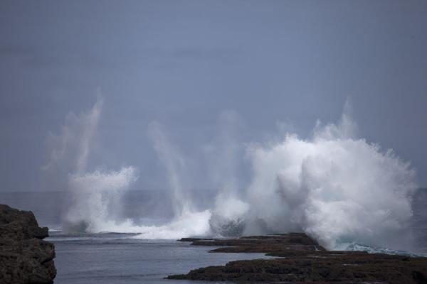 Foto de Wave crashing on the rocky shore of southwestern TongatapuEspiráculos de Mapu a Vaea - Tonga