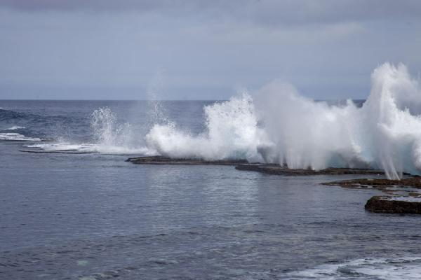 Fountains caused by the force of the water and the holes in the coral bed | Mapu a Vaea Blowholes | Tonga