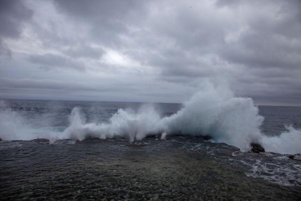 Spouts of water sent into the air by the force of the water through holes in the coral | Mapu a Vaea Blowholes | Tonga