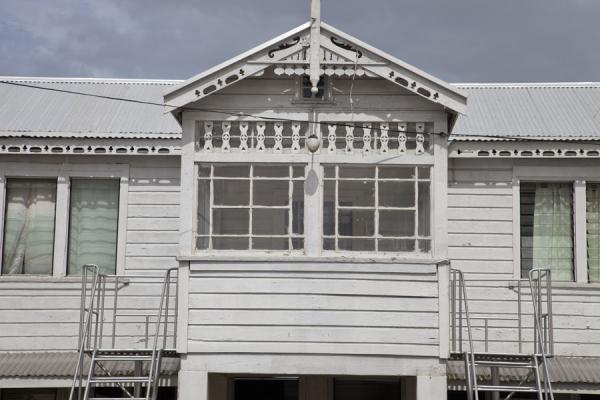 Picture of Nuku'alofa (Tonga): Windows in white gingerbread house in Nuku'alofa