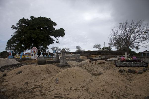 Picture of Tongan cemeteries (Tonga): Cemetery near Lapaha with mounds of sand marking the graves