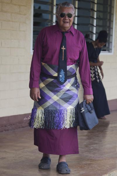 Picture of Man wearing a traditional Tongan dress and a christian tie on SundayTonga - Tonga
